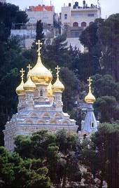 Russian Orthodox Church in Jerusalem rests in the valley between the old city and the Mount of Olives. 