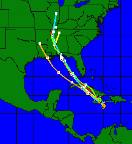 Projected path of Hurricane Dennis