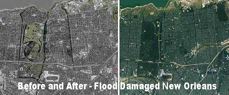 Before and after satellite photos of new orleans after hurricane katrina