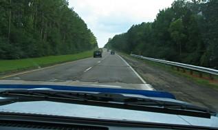 rough roadway on highway 55, Lousiana, photo by Lorelle VanFossen