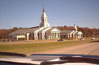 A huge white church alongside the highway just inside the Mississippi border