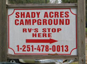 The welcome sign for Shady Acres Campgounrd Mobile Alabama