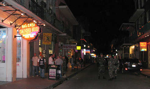 Military on Bourbon Street after Hurricane Katrina, photograph by Lorelle VanFossen