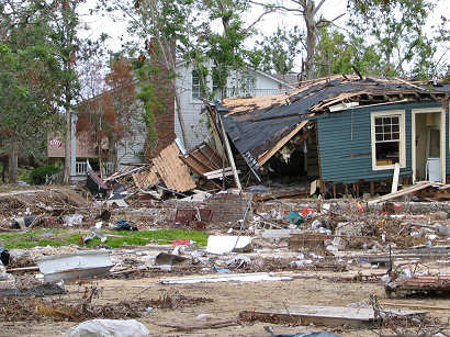 crushed and destroyed homes upon homes from the storm surge - Ocean Springs, Mississippi
