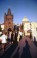 Artist displays on the Charles Bridge in Prague, photo by Lorelle VanFossen