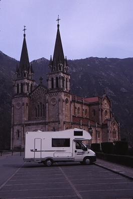 Our rented class C motorhome outside the Covadunga Cathedral in northern Spain, photograph by Brent VanFossen