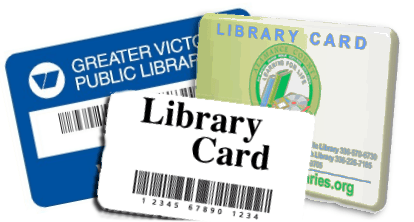 Example of dummy library cards to remind you to take your library card with in in case of an emergency.