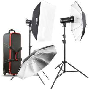 Godox SK300II Studio Strobe 2 Heads, Softbox+Umbrella, 2 Stand and Trigger & Bag