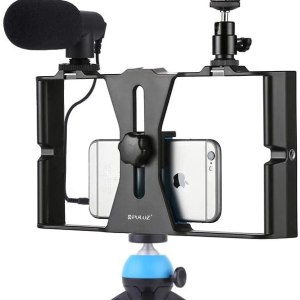 Smartphone Video Rig Kit PULUZ Smartphone Video Grip with Microphone + Video Light + Cold Shoe Tripod Head + Mini Tripod for Phone & iPads 7-inch Screen (Blue)