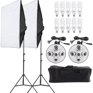 Photo Video 5in1 Softbox Kit Bulb Head Multi-Holder Professional Continuous Light System
