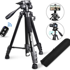Lightweight Tripod Stand for Professional (5kg/11lb Load) with Bluetooth Remote for Cameras & Phones-Black