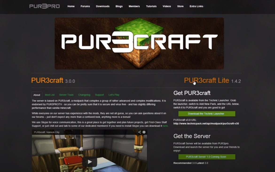 PUR3craft Website