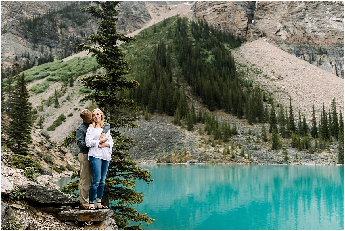 Destination engagement session at Lake Moraine in Banff National Park