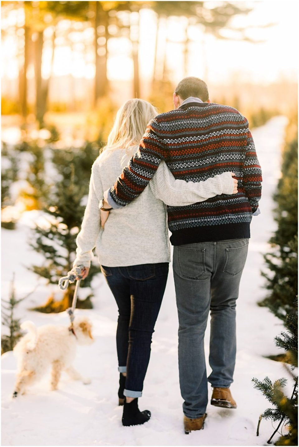 Mini Goldendoodle at winter engagement session in the snow