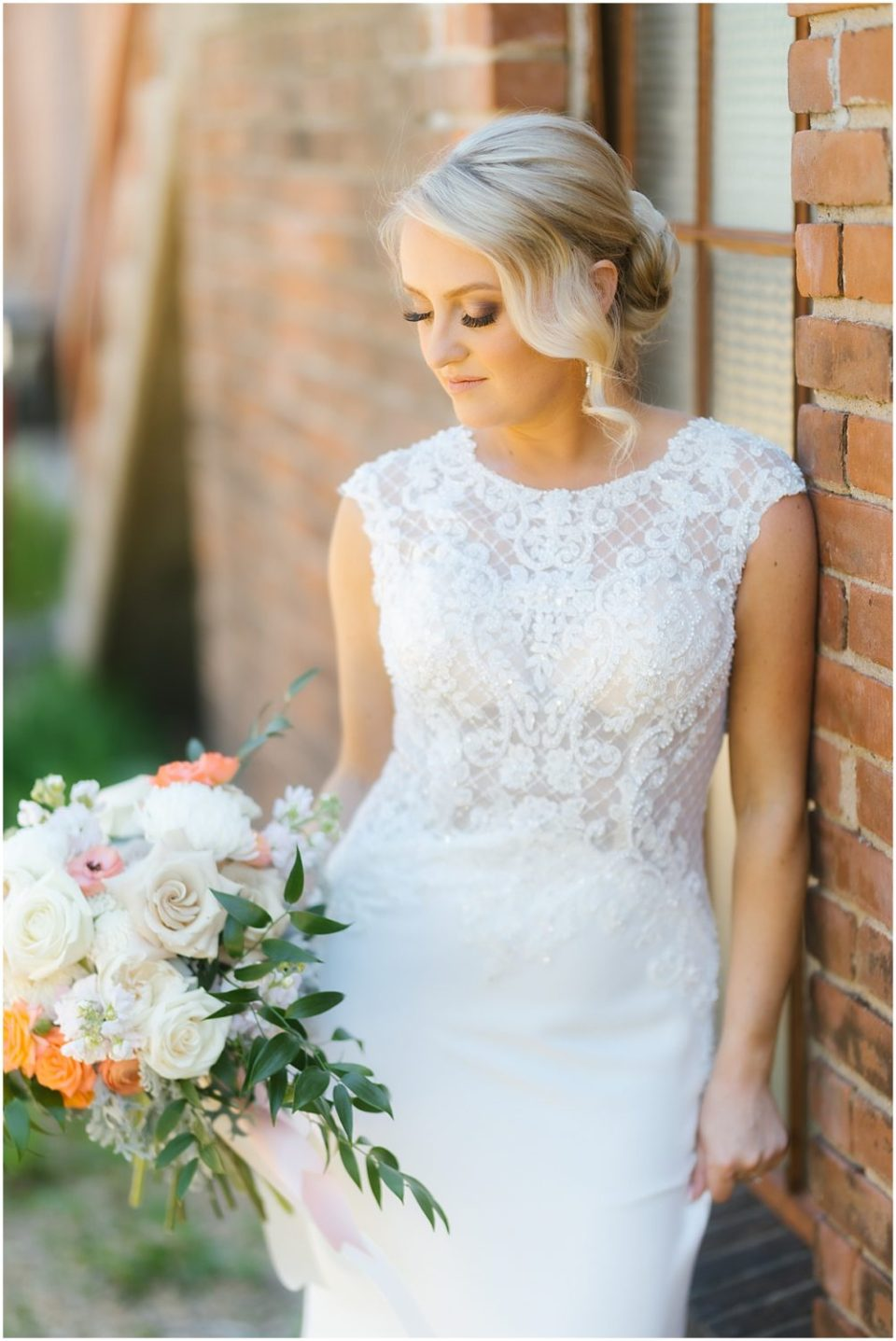 Bridal Portraits in Mori Lee The Wedding Shoppe Dress at The Capitol Room