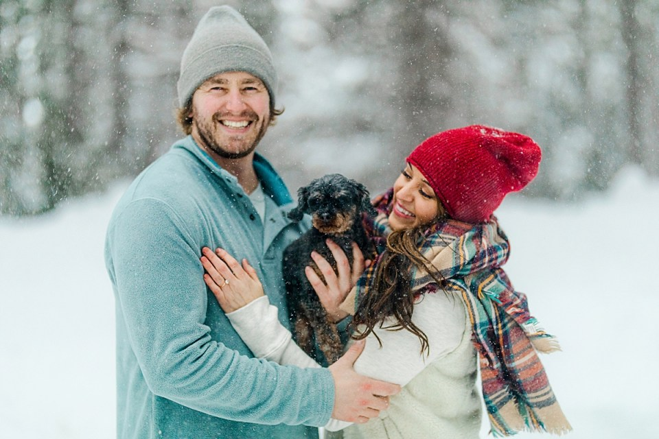 Winter Dog Engagement Session with snow