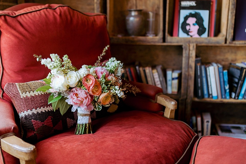Smoky Hollow Studios Los Angeles Wedding Details with lush and colorful bouquet