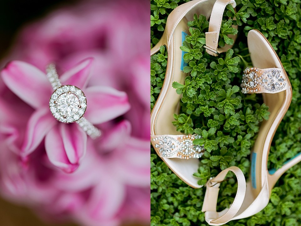 Minneapolis Golf Club Wedding with  shoes and ring on flower