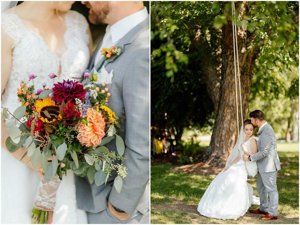 Erickson Farmstead Swing Wedding Portraits