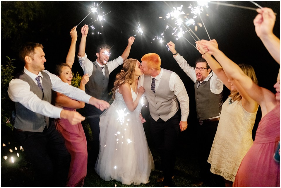 Minnesota wedding sparkler exit