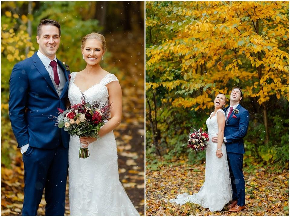 Snow Wedding in Minnesota Fall