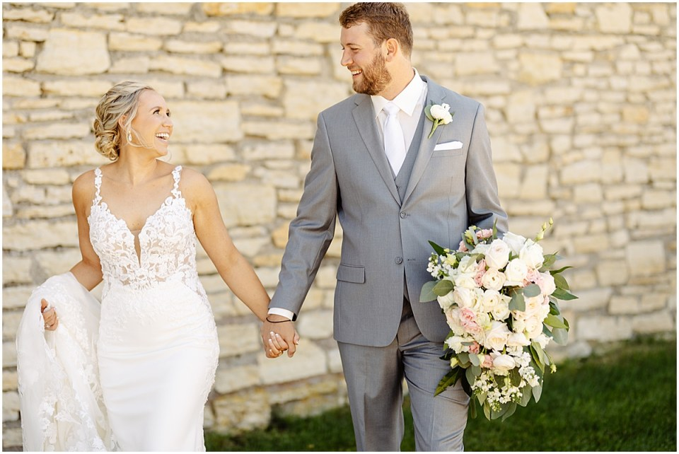 Bride and groom portraits at Mayowood Stone Barn