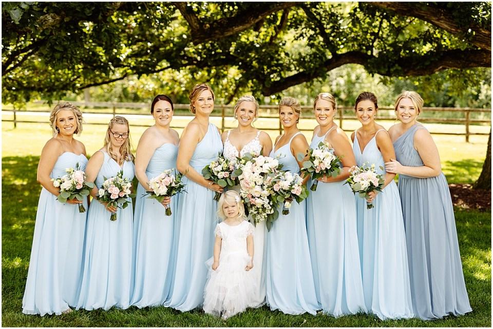 Bridal party photos outside Mayowwod Stone Barn
