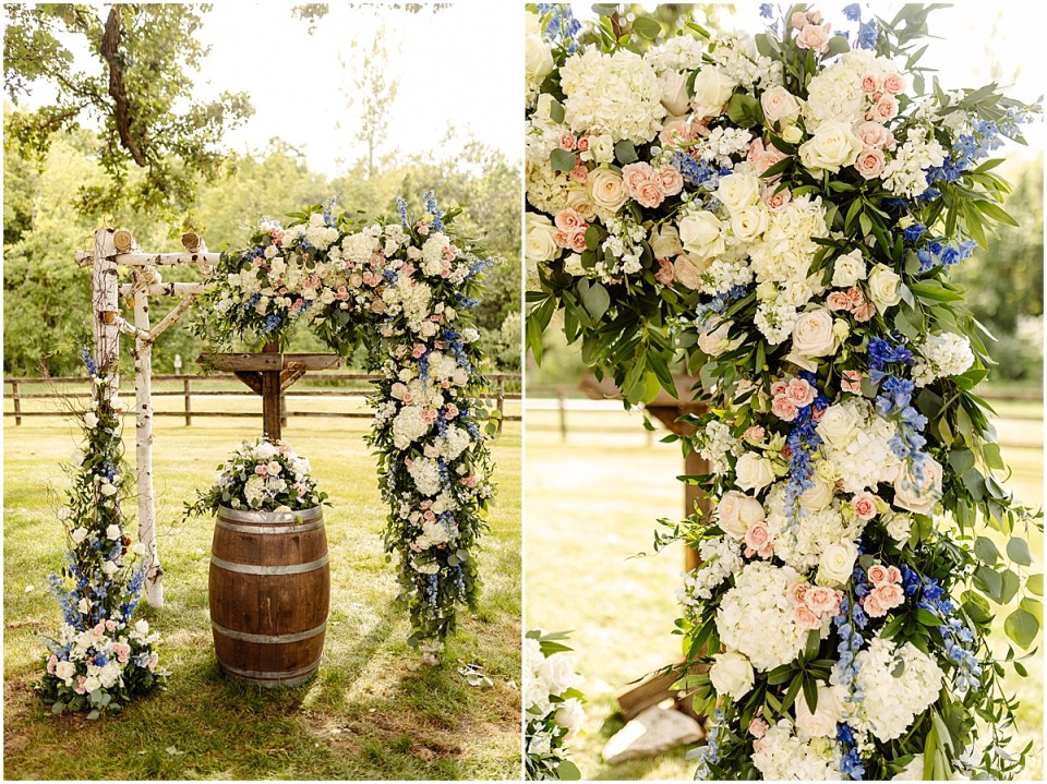 Outdoor Ceremony with Bachman's floral arch  at Mayowood Stone Barn