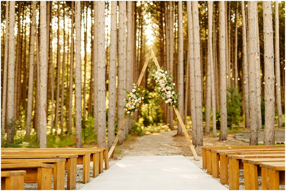 Pinewood Weddings & Events ceremony site in the pines