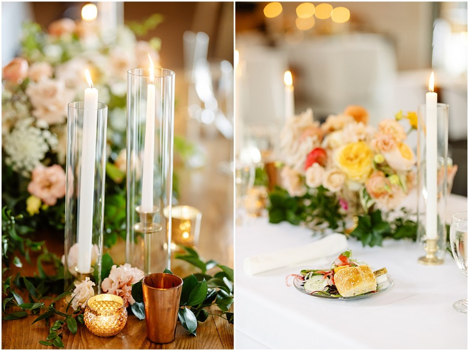 Ashley Skeie table florals at Pinewood Weddings & Events