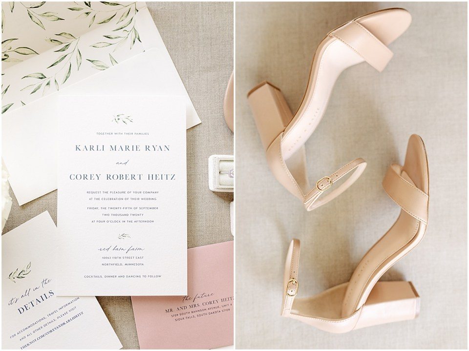 Details wedding shot with invitations