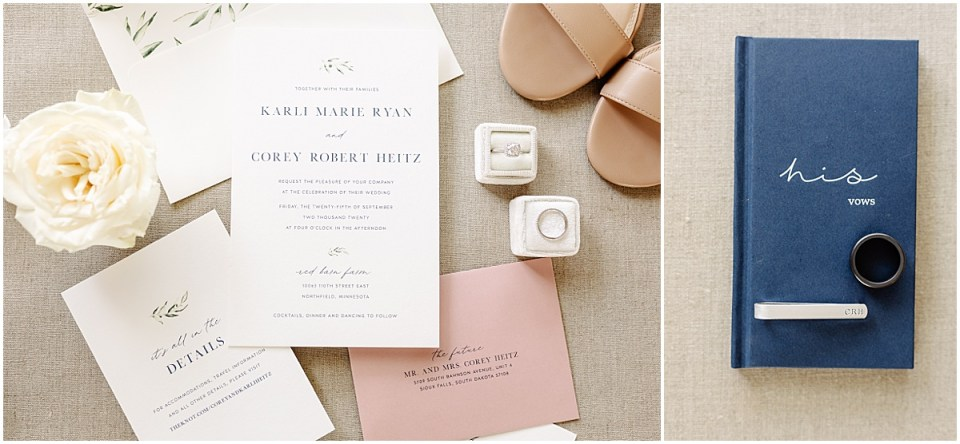 wedding flat lay with invitation ring and shoes