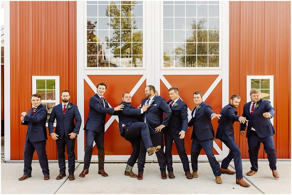 groomsmen at red barn farm