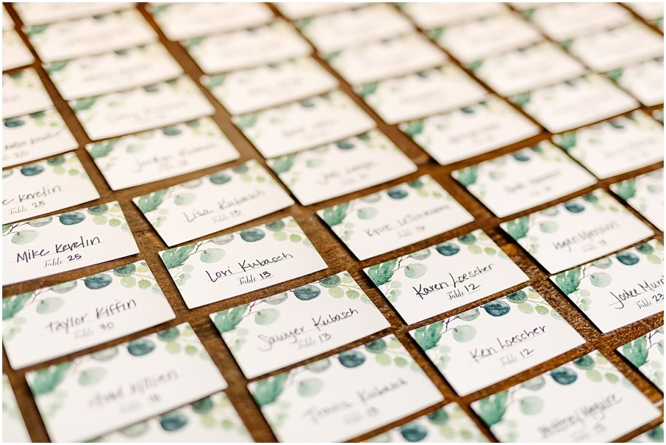 Table assignment cards by jill elaine designs