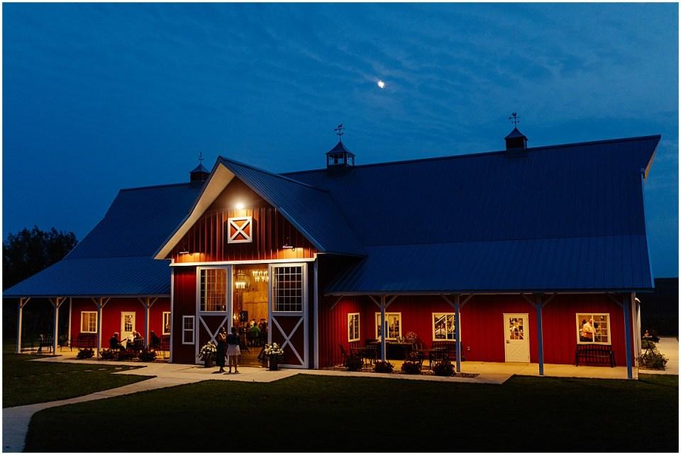 the red barn farm at night in northfield minnesota