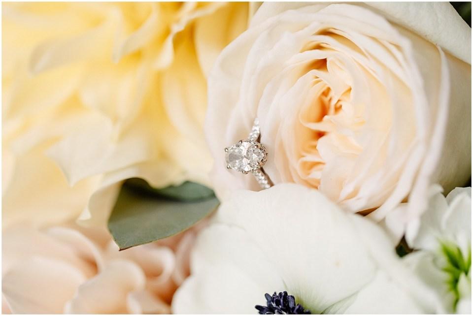 Studio Emme florals and wedding ring detail shot