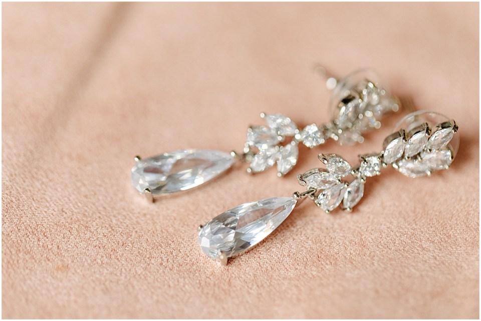 Silver wedding earrings detail shot