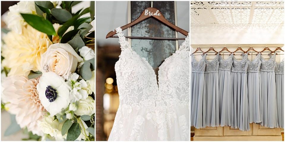 Keenedy blue bridesmaids dresses with wedding dress shot