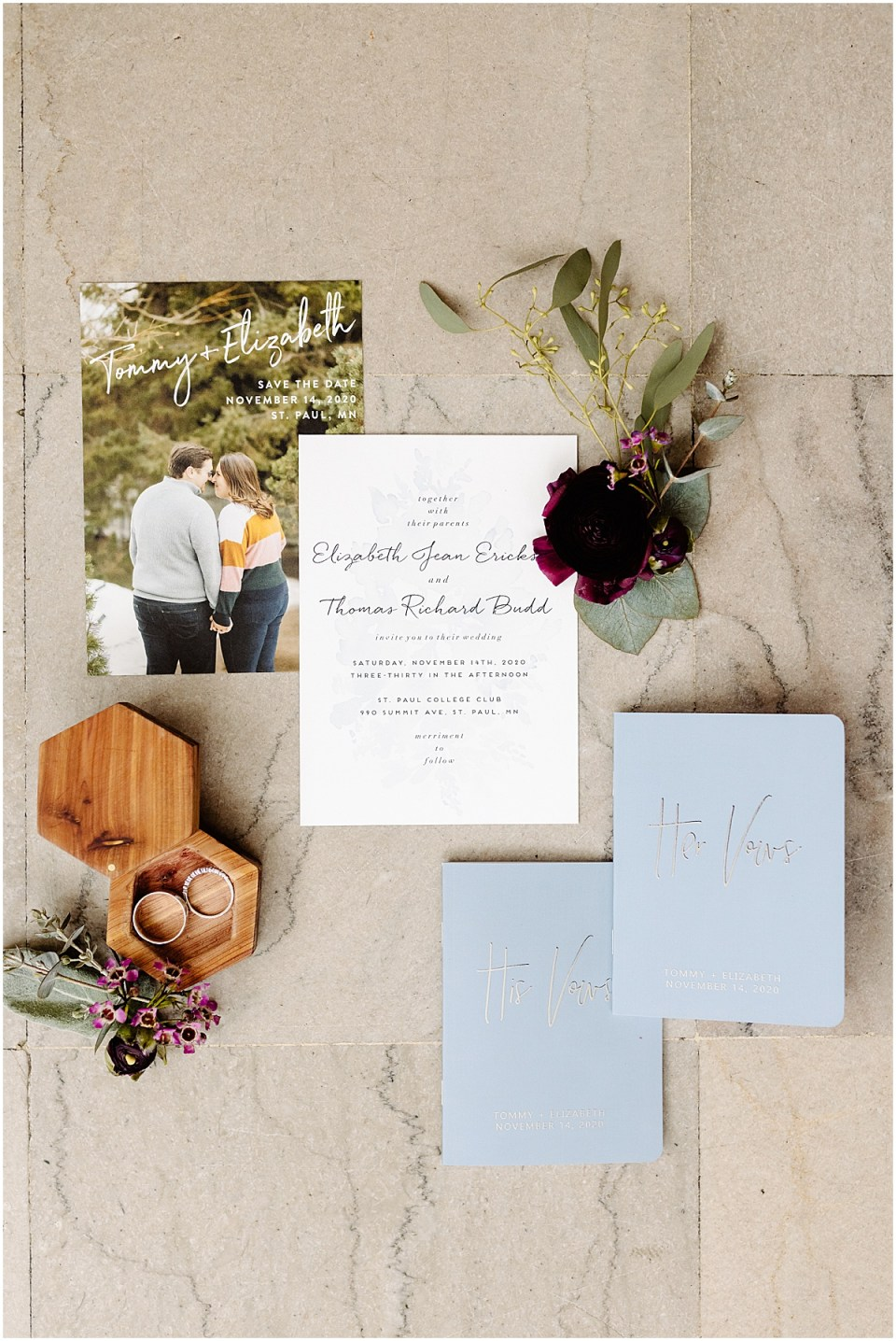 Minted invitation suite flatlay at St. Paul College Club