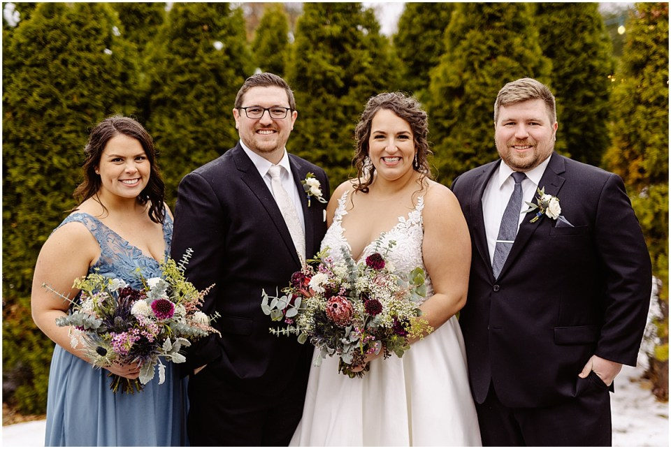 Bridal party outside St. Paul College Club