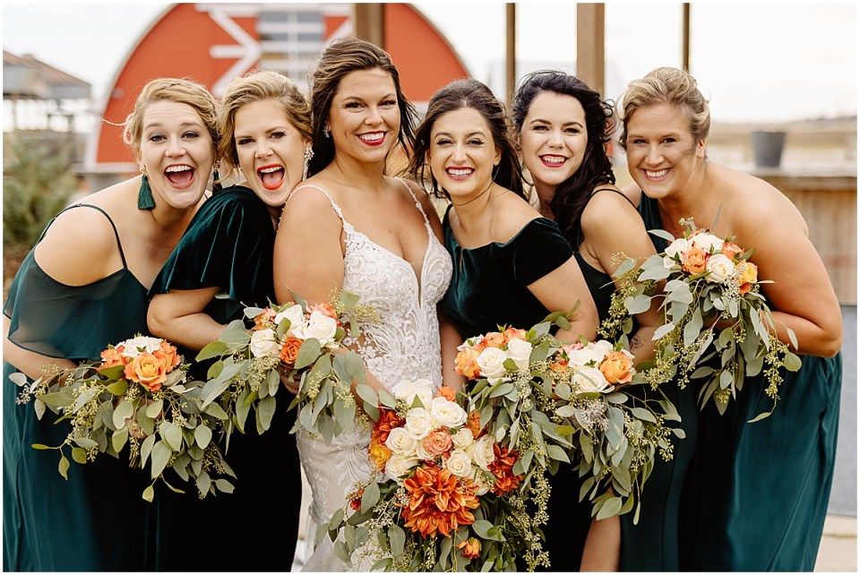 bride and bridesmaid group photo