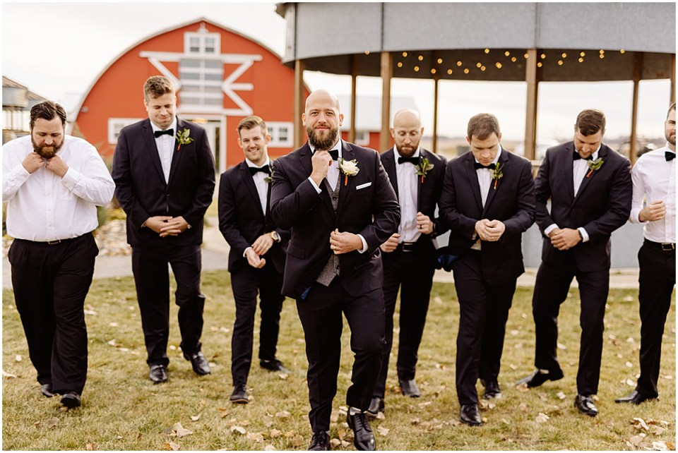groomsmen Swiss Acres Wedding at Reception Barn