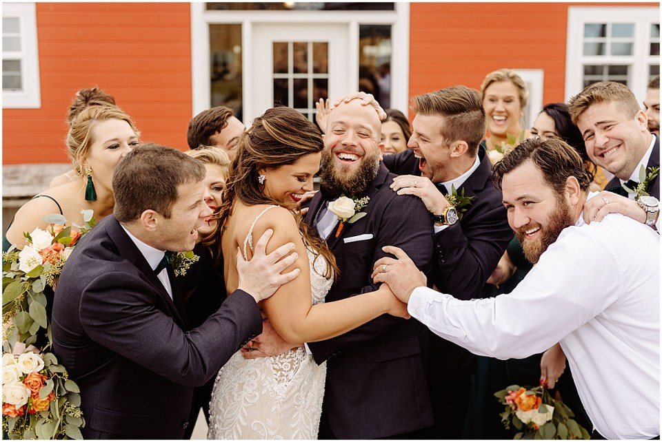 bridal party Swiss Acres Wedding at Reception Barn