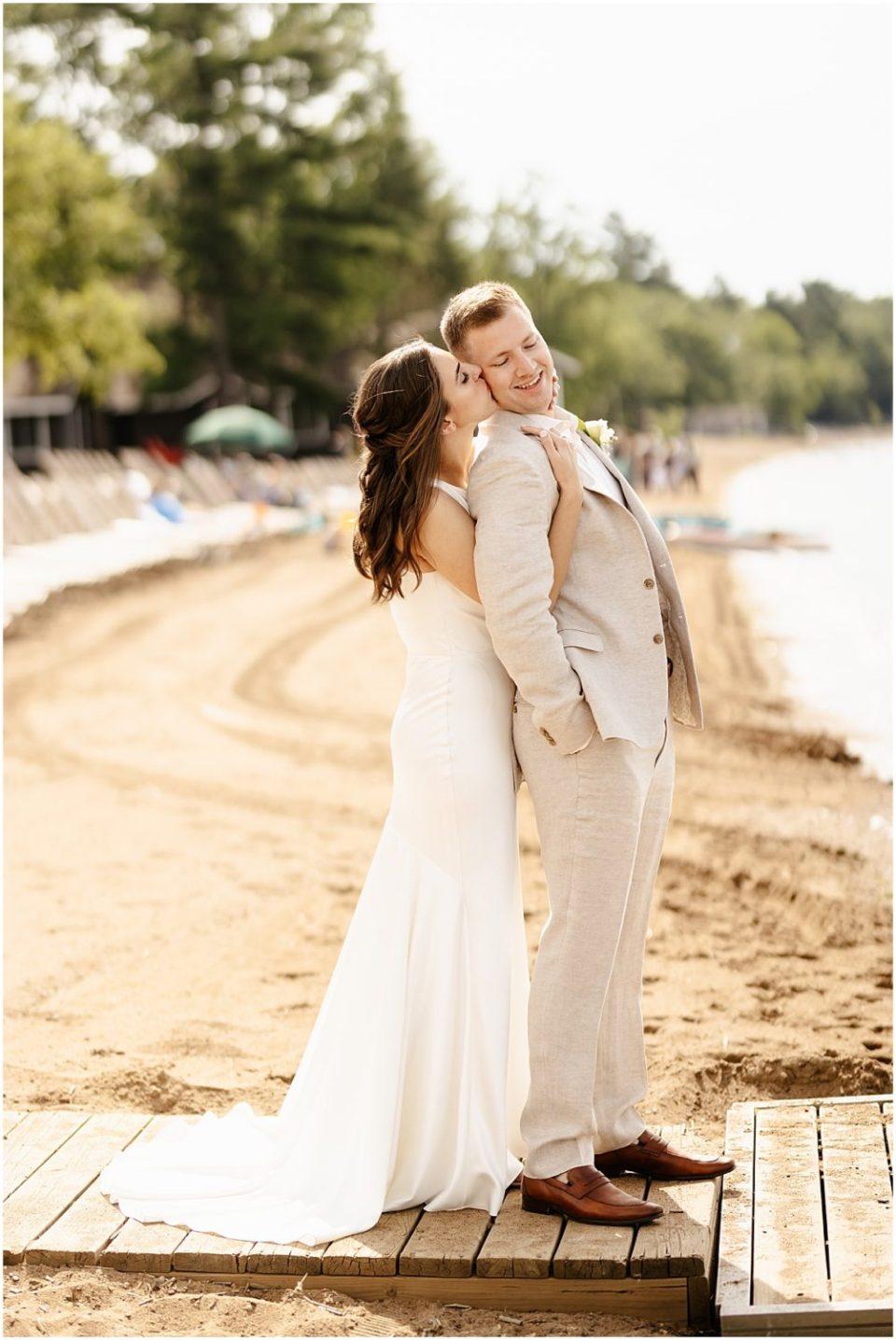 Beach wedding on Gull Lake