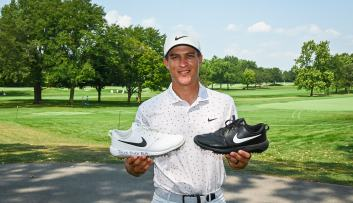 Cameron Champ black and white golf shoes 2020 BMW Championship