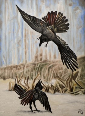 2016-12 – Commissioned Painting by Cameron Dixon – The Murder (crows)