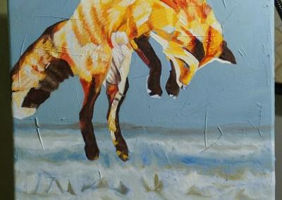 2017-01 - Painting by Cameron Dixon - Fox Pounce - 2 - progress-web