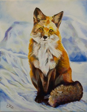 2017-03 – Red Fox Sitting in Snow – Original Painting by Cameron Dixon