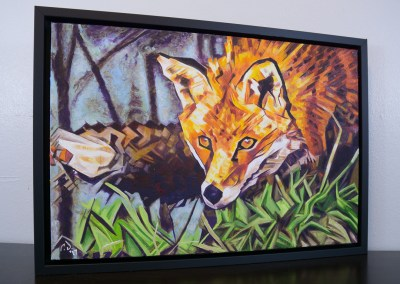 Painting by Cameron Dixon - The Surreptitious Stalker - complete full and framed right