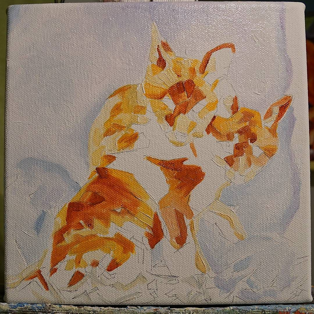 WIP Two Fox Cubs 8in x 8in Oil on canvas Prints and products starting from $22USD/$29CDN available via: www.camerondixon.com